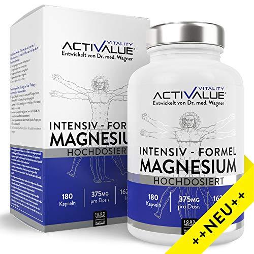 Magnesium INTENSIV-Formel, 2340mg Premium Magnesiumcitrat, davon 375mg elementares Magnesium je Tagesdosis. 180 Kapseln. Hochdosiert, laborgeprüft, ohne Zusätze, vegan & hergestellt in Deutschland