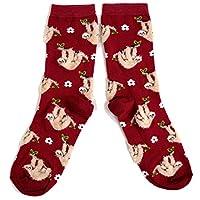 Ladies A Bed Of Fluffy Sloths Burgundy Socks UK 4-8 Eur 37-42 USA 6-10