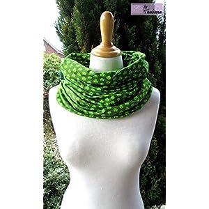 grüner XL Schal Loopschal aus Jersey dunkelgrün neongrün Glücksklee Kleeblätter extrabreit Geschenk z. Geburtstag Muttertag