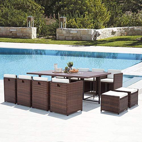 Mon Usine Discount Le Kaolino - Conjunto de Muebles de jardín empotrable...
