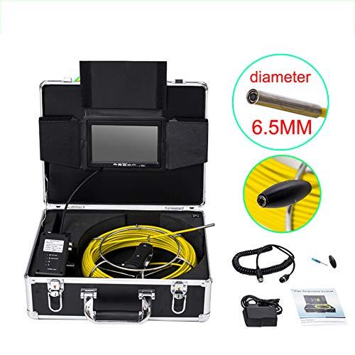 Cámara inspección de tuberías, cámara de 6,5 mm de Drenaje de alcantarillado Industrial Impermeable IP68 1000TVL HD con Monitor LCD de 9 Pulgadas,40Mcable