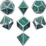 TecUnite Set di 7 Dadi di Metallo Poliedrico 7-Die Dice Set di Dadi per Giochi di Ruolo per Dungeons e Dragons, RPG Dice Gaming, D&D, MTG (Verde Smeraldo, 105 g)