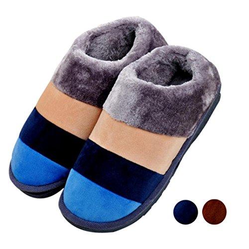 Transer® Unisex - Erwachsene Plüsch Hausschuhe Herbst/Winter Warm Schuh Plüsch+TPR Sandelholz Slipper Schuhe Länge 26.5cm/27.6cm(Bitte achten Sie auf die Größentabelle. Vielen Dank!) Kaffee