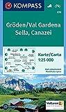 Gröden, Val Gardena, Sella, Canazei: Wanderkarte mit Radrouten. GPS-genau. 1:25000.: Wandelkaart 1:25 000 (KOMPASS-Wand