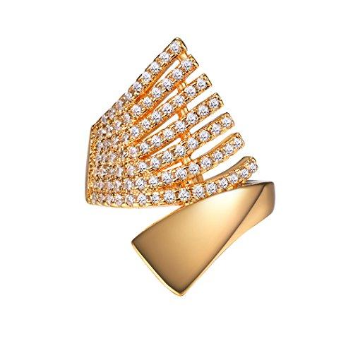 Suplight Bague Femme Plaqué Or 18K Alliance Anneau de Fiançaille Serte de Pierres Zirconium Taille 57 Bijoux Fantaisie pour Jaune Fille (Doré)