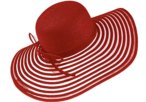 Harrys-Collection Extra Großer Strohhut für Damen in 8 Farben, Farben:rot, Kopfgröße:Einheitsgröße