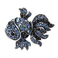 Toporchid Vintage Crystal Fish Brooches for Women, Ladies Crystal Brooch Pins Corsage Wedding Bouquet Decor