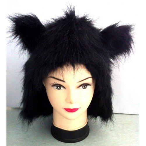 Animal Hood with Black Ears White