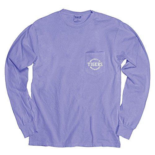 Blue 84 NCAA gefärbt ringgesponnene Longsleeve Tee mit Pocket, Unisex - Erwachsene, NCAA Dyed Ringspun Longsleeve Tee with Pocket, Periwinkle, Large - Ringspun-fußball-t-shirt