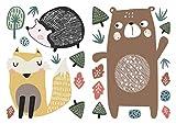 Wandtattoo Kinderzimmer Deko Pastell Set Waldtiere Bär Fuchs Igel Bäume