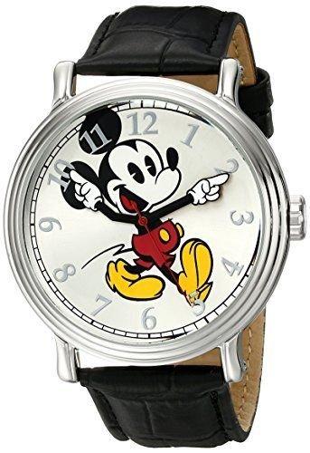 Disney Men's W001868 Mickey Mouse Silver-Tone Watch with Black Band (Mickey-mouse-black Watch)
