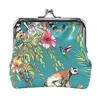 FANTAZIO change purse clasp Animal Lemur And Floral Walllet Women