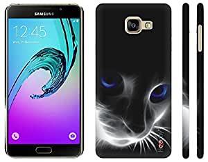 Heartly Cat Printed Designer Thin Hard Bumper Back Case Cover For Samsung Galaxy A7 (2016) - White Grey