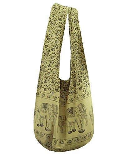 BTP Hippie borsa a tracolla borsa con elefante con tracolla da viaggio Top Zip in cotone a tracolla etnico XL Beige