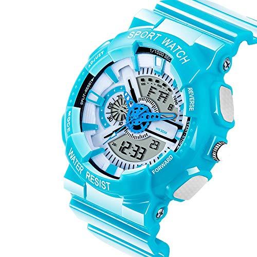 FCHDZ Jungen analog digital Uhren led analogs sportuhr 30 Meter wasserdicht mit wecker dual time led licht stoppuhr-Timing Kalender datumsanzeige Schock- und eisschutz für jeden