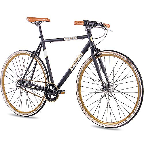 CHRISSON 28 Zoll Retro Rennrad Vintage Bike - Vintage Road N3 schwarz 52 cm mit 3 Gang Shimano Nexus Nabenschaltung, Urban Old School Fahrrad für Damen und Herren
