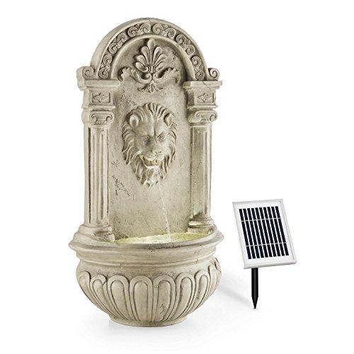 Blumfeldt Fontaine de jardin - 2W solaire , LED à 4 rayon intégré polyrésine , jeu d'eau avec tête lion crachant