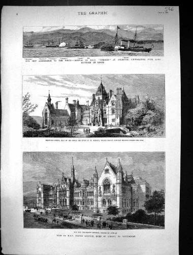 Price comparison product image Old Original Antique Victorian Print 1881 University Nottingham Bestwood Duke Alban Ship Helicon Super 546J326