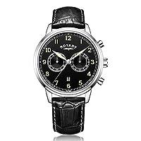 Rotary - Reloj de cuarzo para hombre, correa de cuero, color negro de Rotary