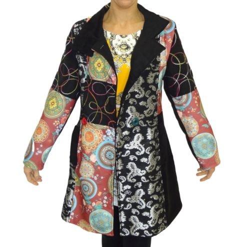 Damen Mantel Damen Mantel hohen Hals militärischen Graben mac Parka Größe 10 12 14 16 18 NE556-CT-RED BLACK / bunt