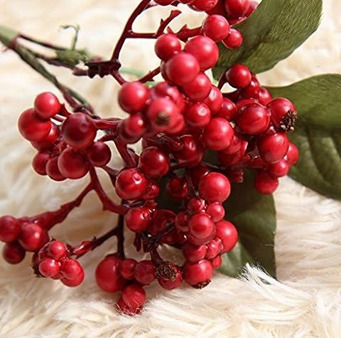 GT Künstliche Blumen Einzige Zweigstelle Weihnachten, Beeren, Ideal für Hochzeit, Braut, Party, zu Hause, Büro Einrichtung