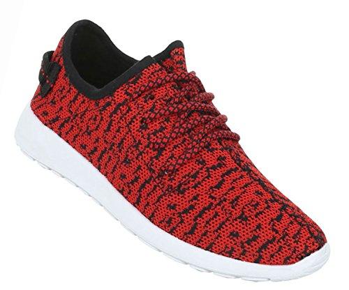 Damen Schuhe Freizeitschuhe Sneakers Turnschuhe Sportschuhe Schwarz Rot