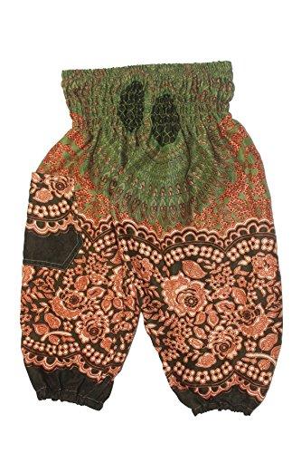 Lofbaz Kinder Boho Hippie Rosenmuster Ballonhose Aladdin Boho Grün Größe 2T