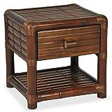 Festnight Bambus Nachttisch Nachtschrank Bambustisch Beistelltisch mit 1 Schublade und 1 Ablageboden 45 x 45 x 40 cm