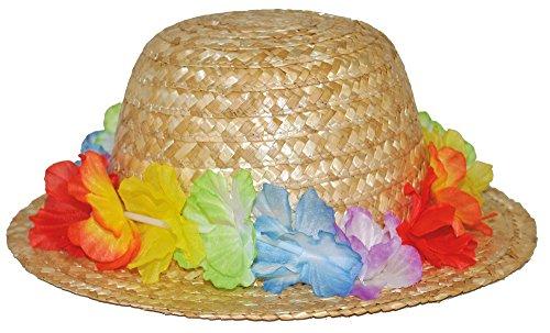 Hawaii Blumen Strohhut Lovely Flowers Natur - Perfekt zum Südsee oder Hippie (Kostüme Südsee)