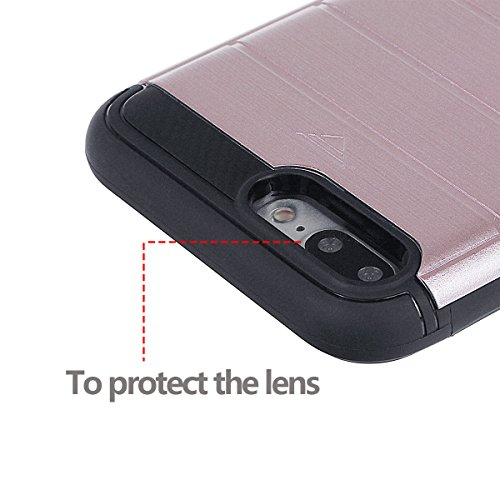xhorizon TM Armure hybride à double couche mince et antichoc texture brossé TPU souple étui de pare-chocs défenseur support de protection avec l'espace de carte secrète carte emplacement pour iPhone 6 Rose Rouge