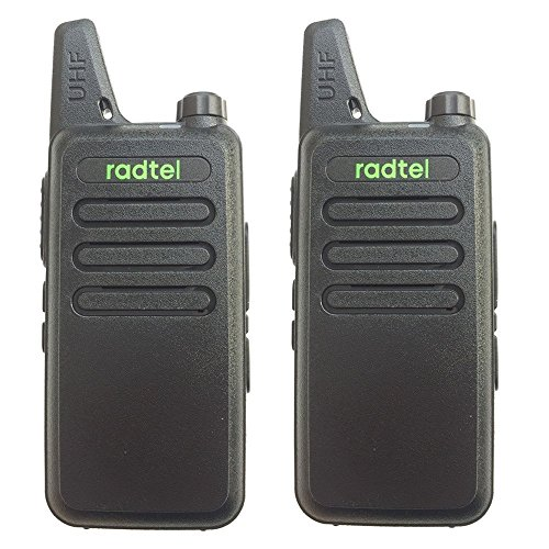 Radtel RT-10–Walkie talkie recargable UHF 16canales scan programable (negro, 1par)