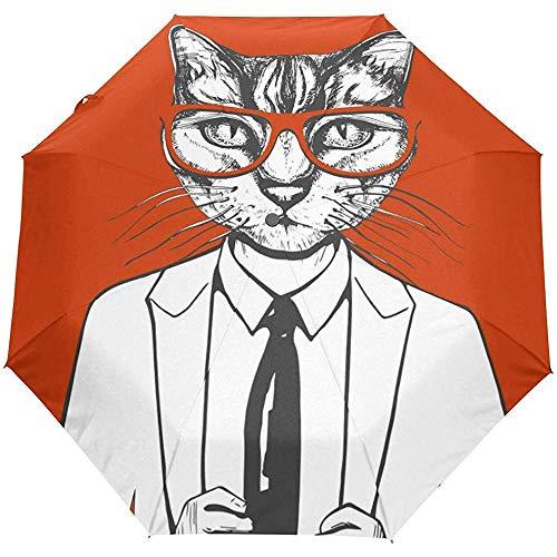 Nette Katze Auto Open Umbrella Sun Regen Regenschirm Anti UV Folding Compact Automatic Umbrella