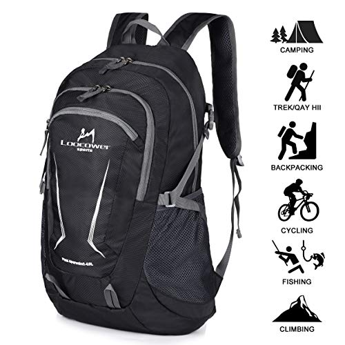 Loocower 45L Leichte Packable Reiserucksack Wanderrucksack, Multifunktionale Tagesrucksack, Faltbare Camping Trekking Rucksäcke, Utra Leicht Outdoor Sport Rucksäcke Tasche - Black
