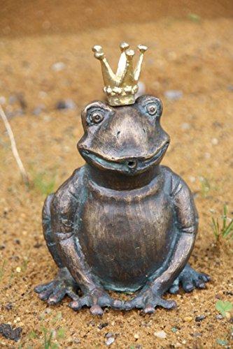 Bronze Frosch, Wasserspeier Froschkönig, Tierfigur für Garten & Teich
