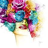 Fertig-Bild - Patrice Murciano: La Vie en Rose 50 x 50 cm Mödchen Portrait Rosen bunt Pop knallig Kult modern