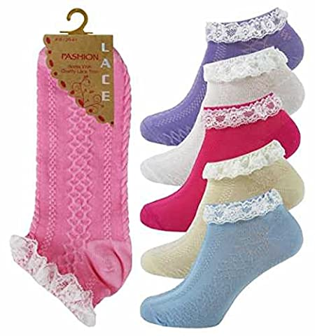 6 Pairs Lace Ruffle Frill Vintage Retro 40's/50's Style Ankle Socks Jive Dance