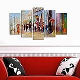 LaModaHome Deko 100% MDF Art Wand 5Elementen (109,2x 61cm Gesamt) fertig Zum Aufhängen streichen Street Pinsel Bunt Gemischte Cafe City Road Regenschirm Multi Varianten in Store.