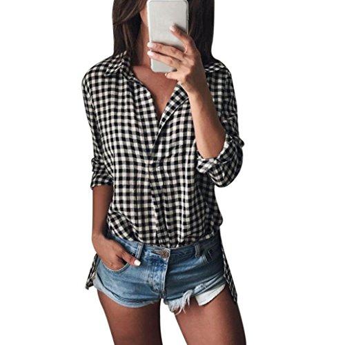 LSAltd Frauen V Ausschnitt Plaid Gedruckte Bluse, LSAltd Damen Langarm Casual Tops T-Shirt (Schwarz, S)