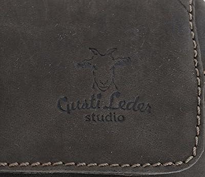 Gusti Cuir studio - Sac ceinture April Sac festival portefeuille rétro unisexe en cuir de buffle Marron foncé 2G4-22-6