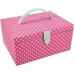 Button It 82214 - Costurero de tela con diseño de lunares en el exterior tamaño grande, color azul y rosa