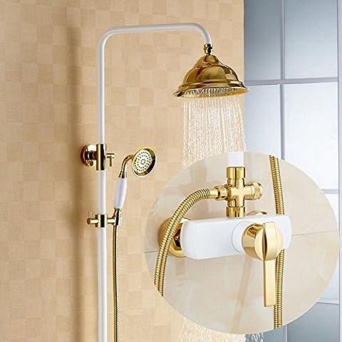 Duscharmaturen, Kopfbügel All-Copper Gold Dusche Bad Bad Wandmontage Handbrausen Dusche Wasserhahn High-End-Hotel Retro Dusche Head-Shower Mixer