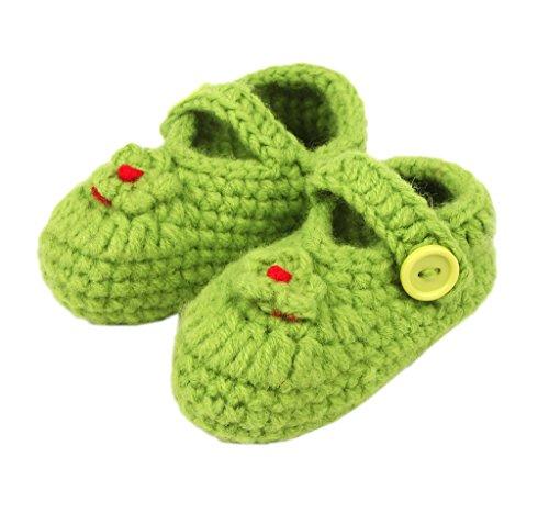Bigood(TM) 1 Paar Strick Schuh Baby Unisex Strickschuh One Size süße Muster 11cm Schwein Blau GrünY