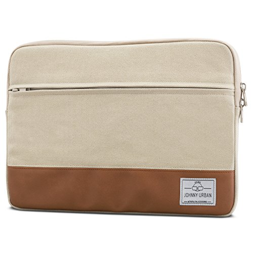 "Laptophülle 13 - 13.3 Zoll Hellbeige - Johnny Urban Canvas Laptop Sleeve Laptoptasche Hülle für MacBook Air 13"" & Pro 13"" Su..."