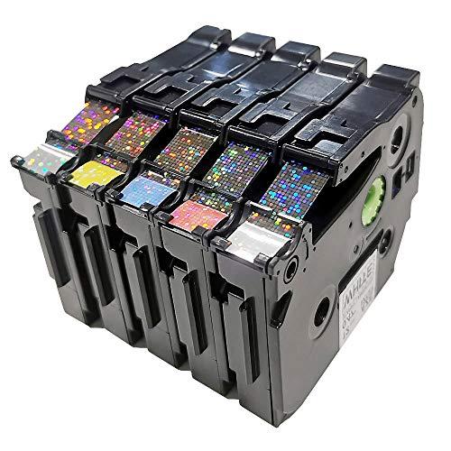 Upwinning kompatibel Schriftbänder als Ersatz für Brother P-touch TZe-231 12mm Schriftband, weiß/rot/blau/gelb/grün Bling Etikettenband für Ptouch D400 H105 H110 1000 1005 1010 H100lb, 5er-Pack -