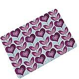 Lucky Store Alfombra Absorbente Antideslizante con Estampado de Goma, Sala de Estar Dormitorio 45x75 CM {2PCS}, Tabla de Madera con corazón púrpura
