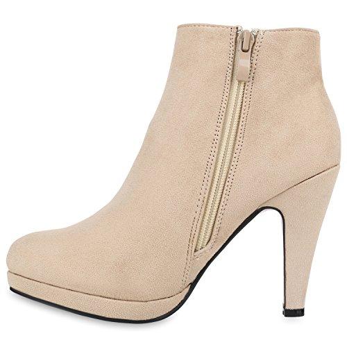 Stiefelparadies Damen Ankle Boots Gefütterte High Heels Stiefeletten Stiletto Strass Zipper Veloursleder-Optik Schuhe Fransen Schleifen Flandell Creme Brito