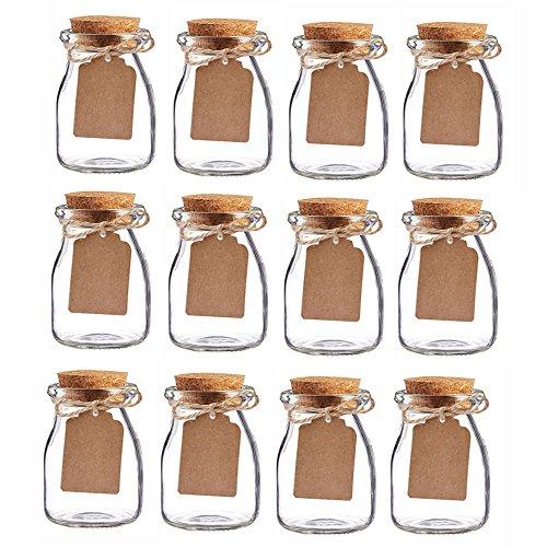 Awtlife 12 barattoli vintage in vetro con tappo in sughero, per bomboniere di matrimonio, 100 g ogni barattolo