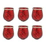 6er Set Windlicht Misch aller 6 FarbenTeelichtglas Außen Ø 8,2 x 11,5 cm Windlichthalter Kerzenglas Windlichtset Glasvase Windlichtglas Laterne Glas Kerze (Rot) Antik