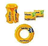 #9: Playking Intex Combo of Pool School Arm Bands, Swim Vest Jacket & Swim Ring, Color May Vary