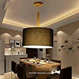 GRFH Modern Einfaches Restaurant Pendelleuchte Wohnzimmer Schlafzimmer Cafe Holz Stoff Deckenleuchte Kreativ Runde Bekleidung Shop Stoff Flammwidrig Leinen Stoff Pendelleuchten , a